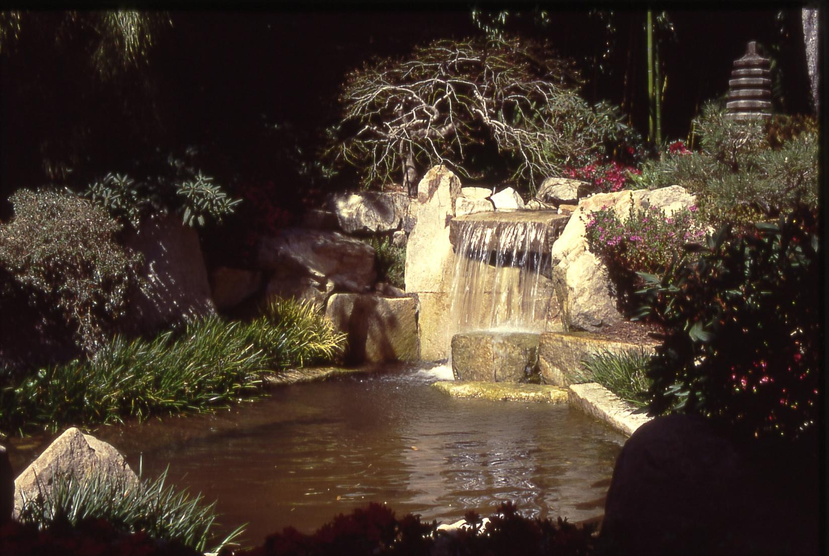 Stone, Reflection, Water  woodland pond/waterfall   Mill Valley Residence, Robert Murase, FASLA